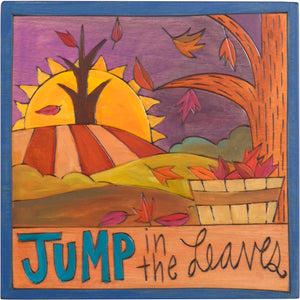 "7""x7"" Plaque –  ""Jump in the leaves"" fall leaves design"