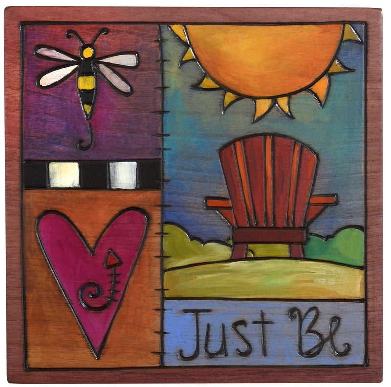 "Sticks handmade wall plaque with ""Just Be"" quote and holiday theme"