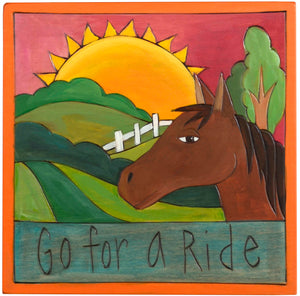"7""x7"" Plaque –  ""Go for a ride"" horse themed plaque"