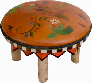 Round Ottoman –  Beautiful nature ottoman design with vines, floral stems, birds, and bees main view