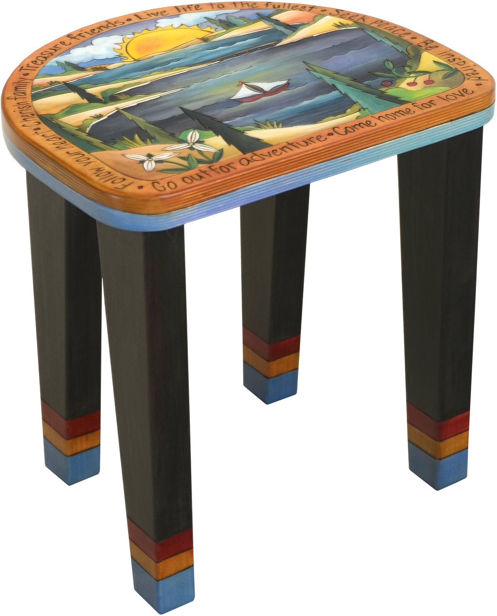 "Short Stool –  ""Live Life to the Fullest"" stool with sailboat on the water with bright warm sun setting motif"