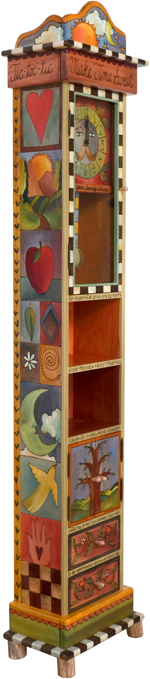 "Grandfather Clock –  ""Make Time Sweet"" grandfather clock with sun, moon and nature motif"