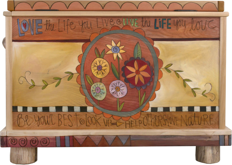 "Chest –  ""This is your Beautiful and Amazing Life"" chest with floral motif"