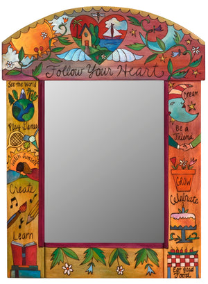 Medium Mirror –  Mirror with floating icons and a lovely heart and floral vine top