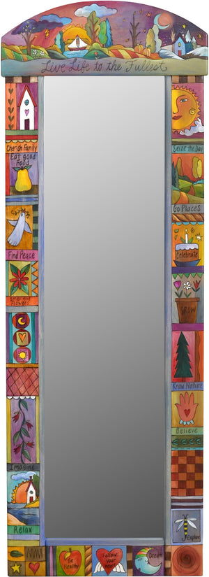 "Wardrobe Mirror –  ""Live Life to the Fullest"" mirror with sun and moon over beautiful scenes of the changing four seasons motif"
