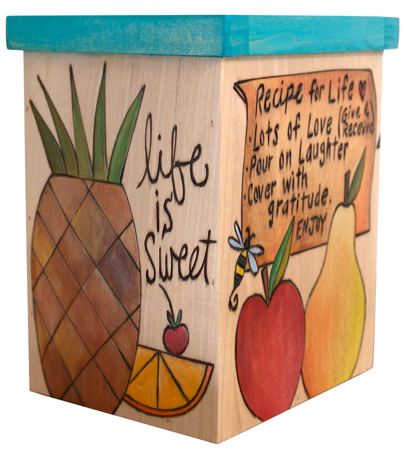 "Vase/Utensil Box – ""Recipes for life"" foods and phrases on a natural birch background box design"