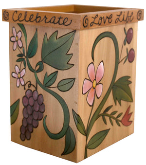 Vase/Utensil Box – Pretty natural wood box vase with fruit and floral vines design