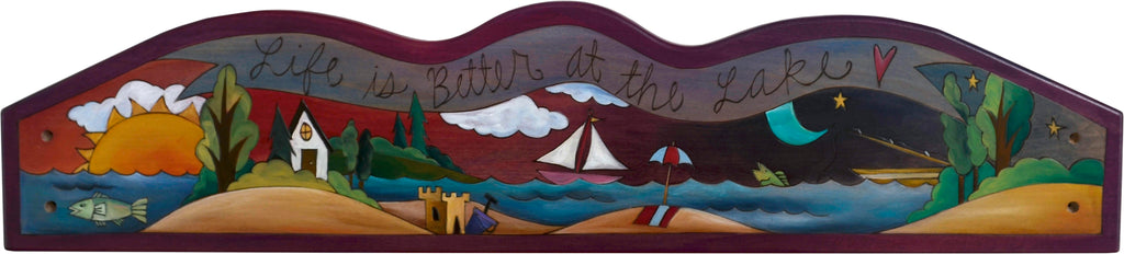 "Door Topper –  ""Life is better at the lake"" serene shoreline door topper motif"