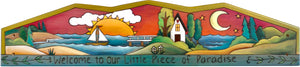 "Door Topper –  ""Welcome to our little piece of paradise"" coastal door topper motif"