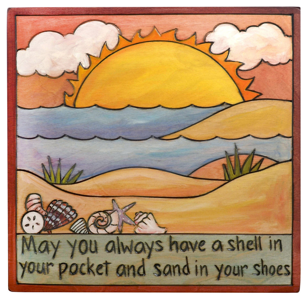 "Sticks handmade wall plaque with ""May you always have a shell in your pocket and sand in your shoes"" quote and beach landscape"