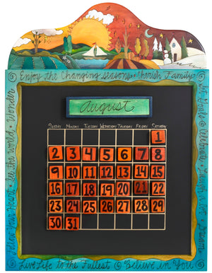 Small Perpetual Calendar –  Lovely small perpetual calendar with rolling four seasons landscape and inspirational phrases border