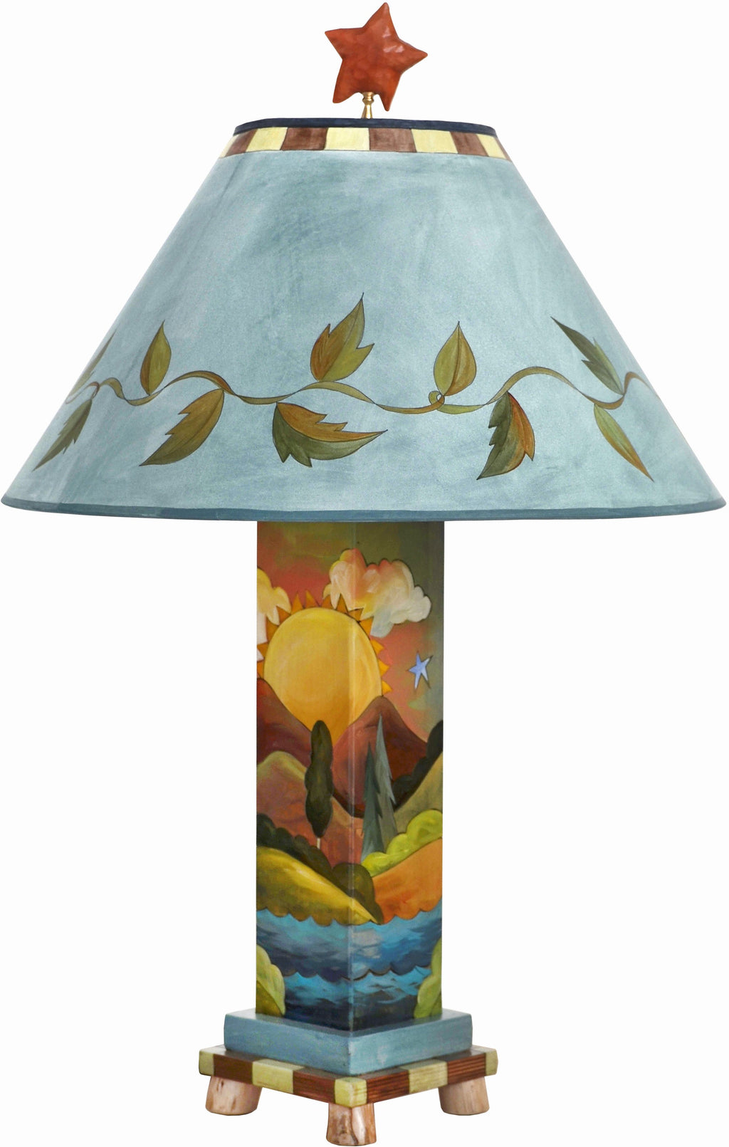 Box Table Lamp –  Beautiful and elegant table lamp with landscape painted center and vine motifs