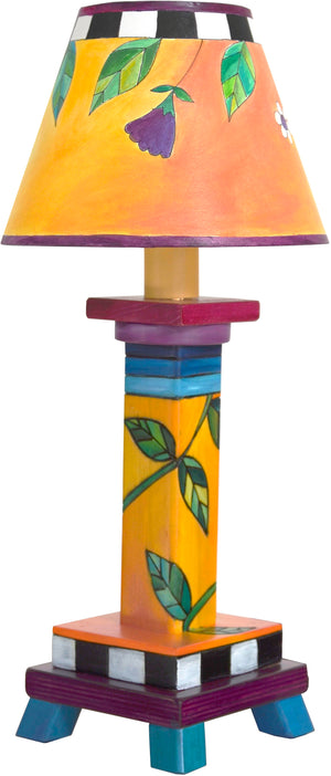 Milled Candlestick Lamp –  Floral vine motif done in a juicy, vibrant color palette