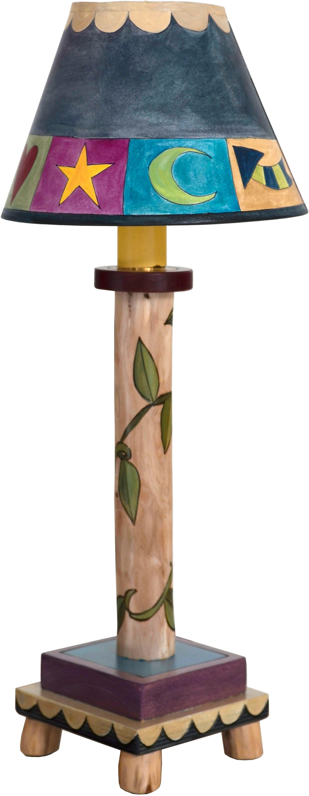 Log Candlestick Lamp –  Cute cool-toned boxed icon and wrapping vine motif