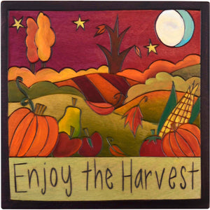 "7""x7"" Plaque –  ""Enjoy the harvest"" fall fruits and veggies design"