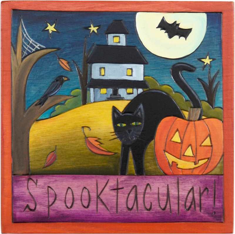 "7""x7"" Plaque –  ""Spooktacular"" halloweeny plaque"