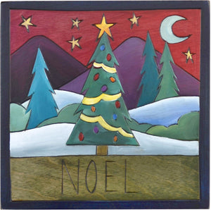 "7""x7"" Plaque –  ""Noel"" plaque with Christmas tree motif"