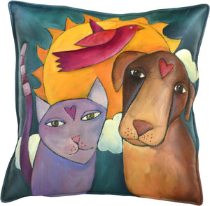 Leather Pillow –  Dog and cat love pillow with sunrise