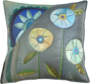 Leather Pillow –  Pretty neutral palette hand painted pillow with floral motifs