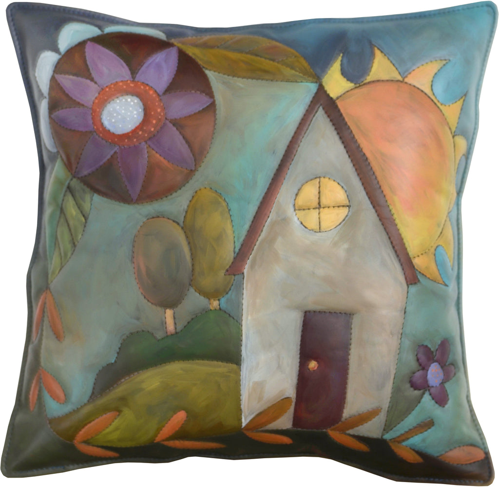 Leather Pillow –  Pastel pillow with pretty home, landscape, flower and sun