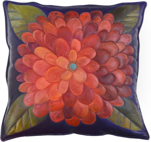 Leather Pillow –  Gorgeous floral pillow with turquoise center