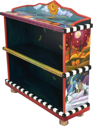 "Short Bookcase –  ""The Secret to Life is Enjoying the Passage of Time"" bookcase with beautiful scenes of the four seasons motif"