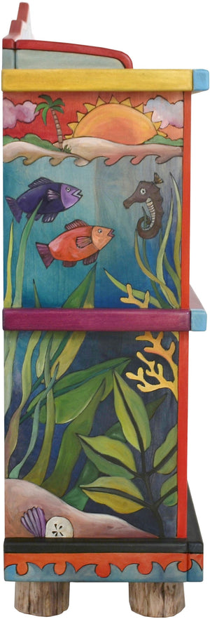 "Short Bookcase –  ""Go Out for Adventure/Come Home for Love"" bookcase with mermaid and deep sea motif"