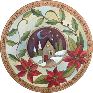 "Sticks Handmade 20""D lazy susan with poinsettias and snowy landscape"