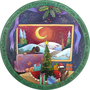 "20"" Holiday Lazy Susan – A cozy Christmas couple taking in the peaceful winter landscape in gorgeous moody colors"