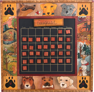 Large Perpetual Calendar –  Playful pup calendar with dogs playing amongst four seasons landscapes