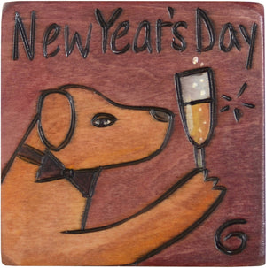 "Large Perpetual Calendar Magnet –  ""New Year's Day"" celebratory perpetual calendar magnet with fancy dog"