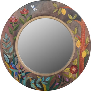 Large Circle Mirror –  Elegant and lovely large round mirror with floral motifs and lemons