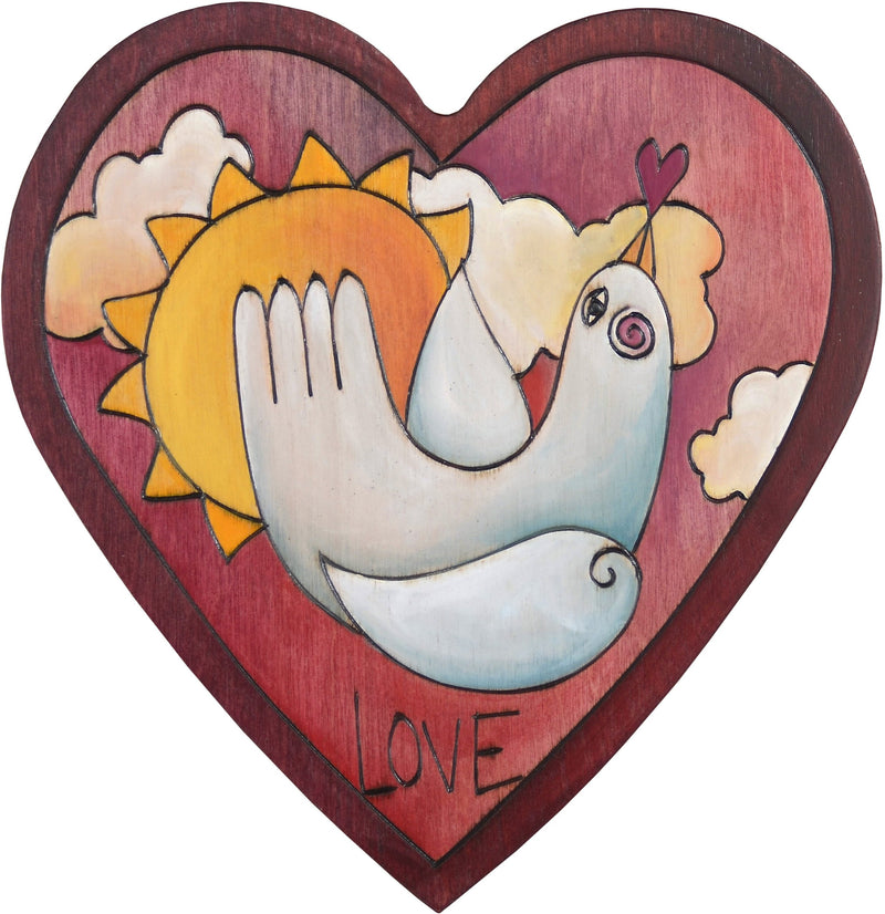 "Heart Shaped Plaque –  ""Love"" heart shaped plaque with dove and sun"