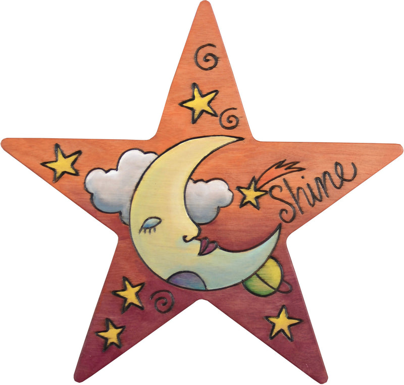 "Star Shaped Plaque –  ""Shine"" star shaped plaque with moon and stars"