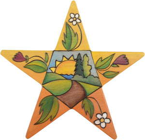 Star Shaped Plaque –  Landscape and floral themed star shaped plaque