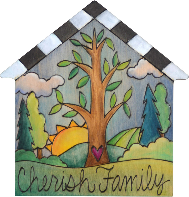 "House Shaped Plaque –  ""Cherish Family"" house shaped plaque with tree of life in the center"