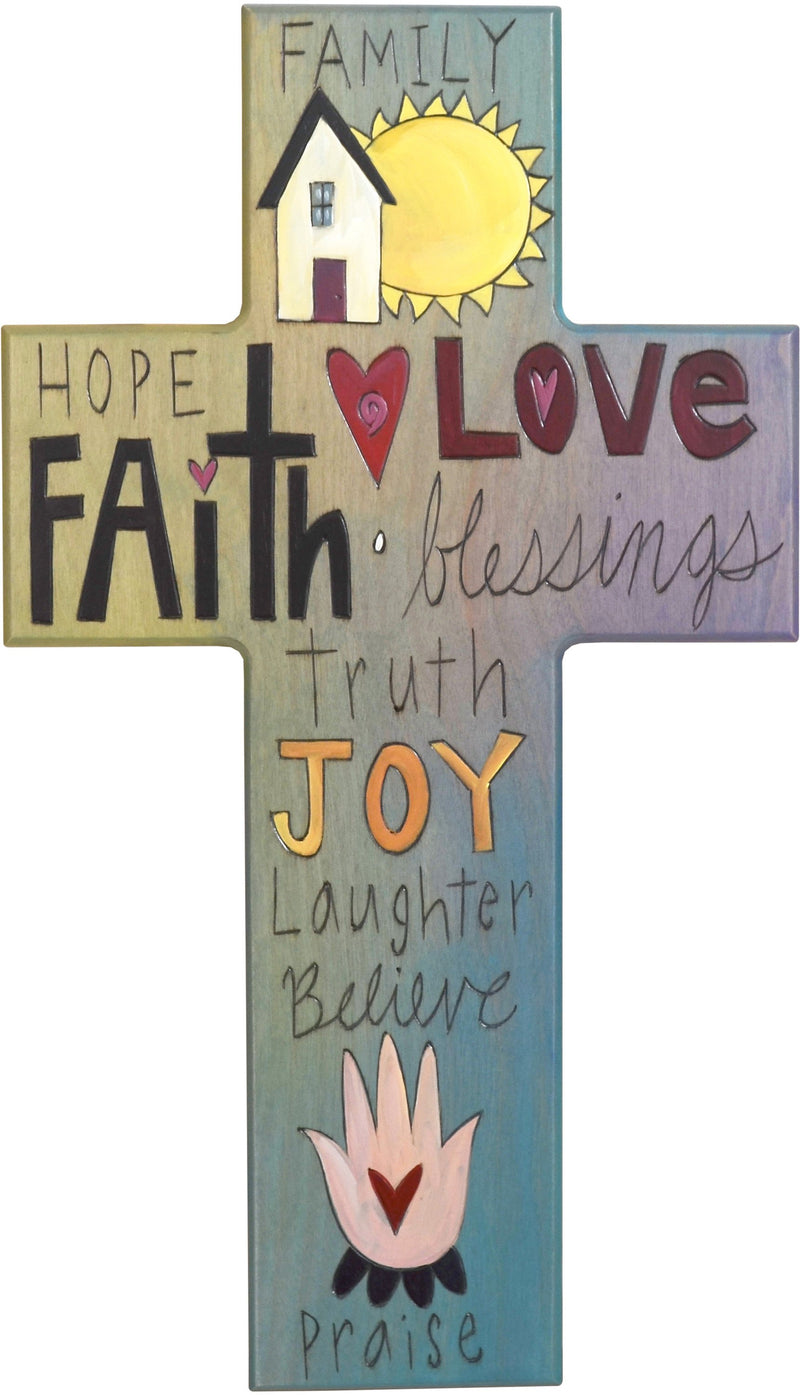 Cross Plaque – Family/Love/Joy cross plaque with blue themed words and home motif