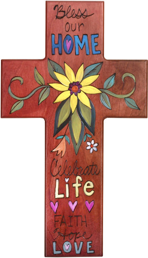 Cross Plaque –  Bless our Home/Celebrate Life cross plaque with floral motif
