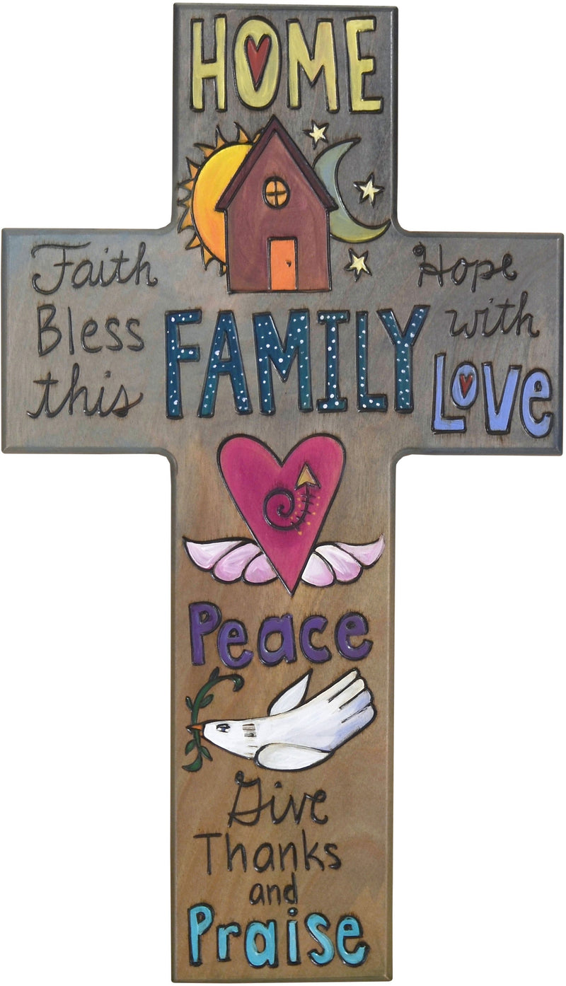 Cross Plaque –  Bless this Family with Love cross plaque with home and heart motif