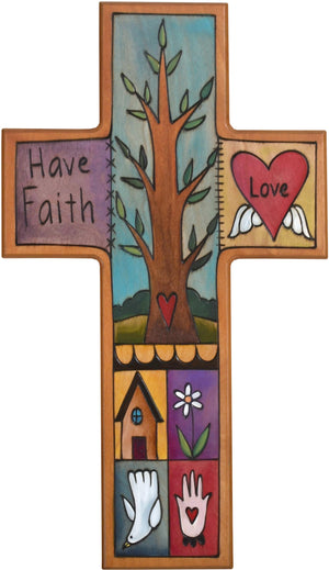 Cross Plaque –  Have Faith cross plaque with tree and heart motif