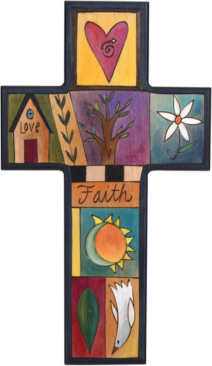 Cross Plaque –  Love/Faith cross plaque with home and heart motif