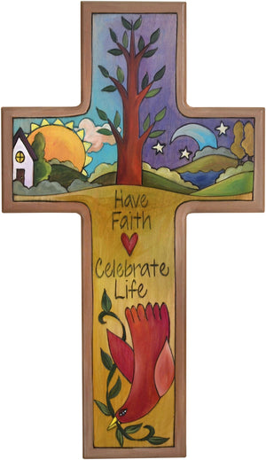 Cross Plaque –  Have Faith/Celebrate Life cross plaque with sun and moon on the horizon with home motif