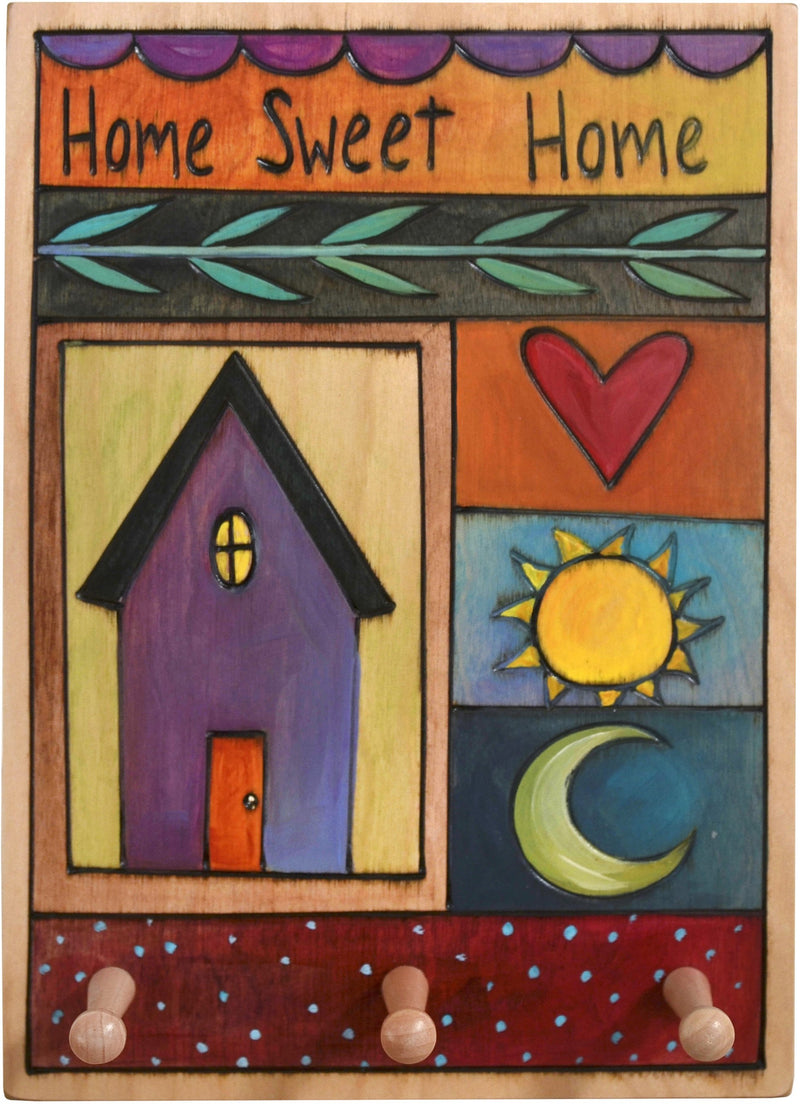 "Vertical Key Ring Plaque –  ""Home Sweet Home,"" colorful key ring plaque with block icons"