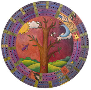 "20"" Cribbage Lazy Susan –  A regal tree of life design with a predominately purple palette"