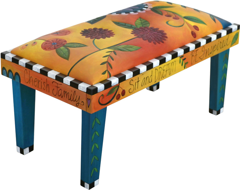 Sticks handmade 3' bench with leather and contemporary floral design