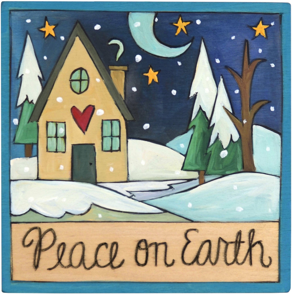 "7""x7"" Plaque –  ""Peace on Earth"" plaque with snowy home motif"