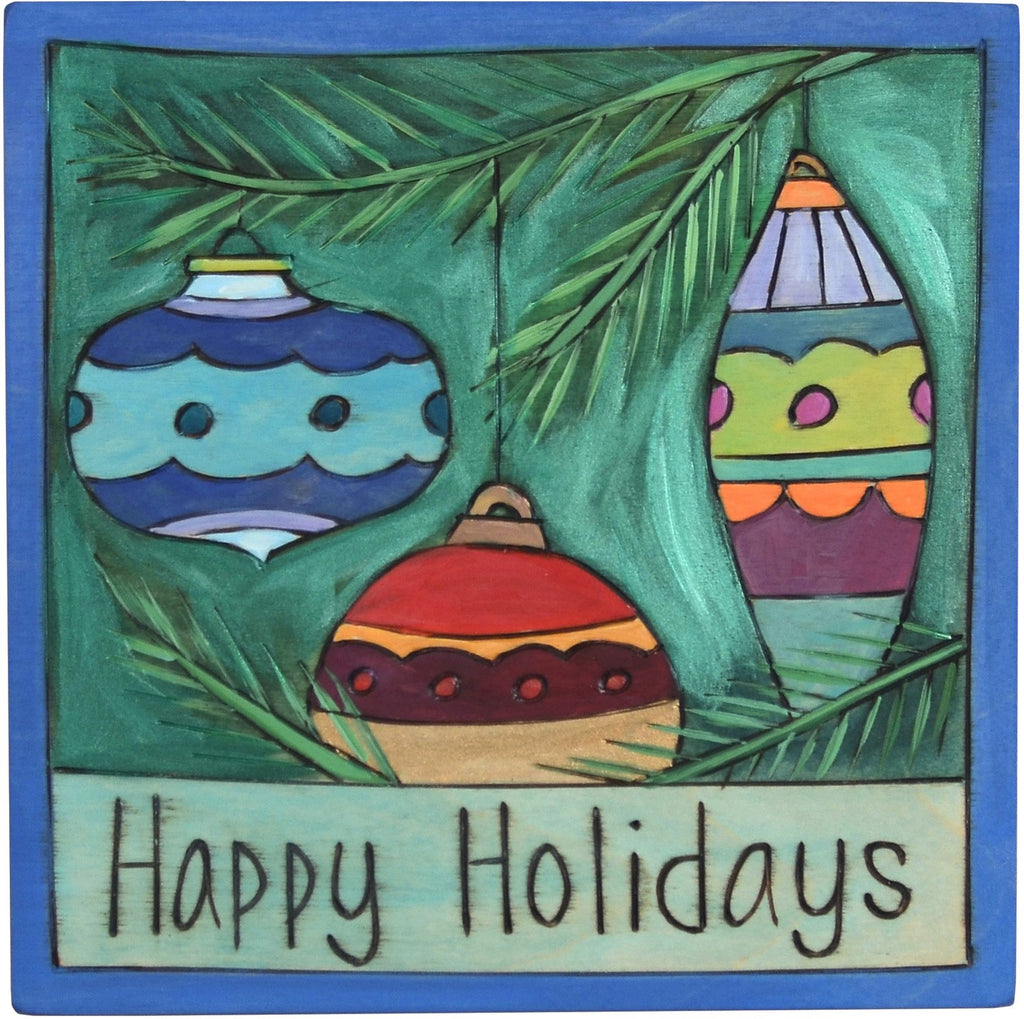 "7""x7"" Plaque –  ""Happy Holidays"" plaque with Christmas ornaments hanging from a tree motif"