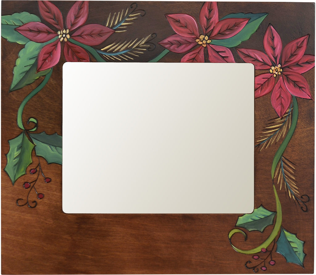 "8""x10"" Frame –  Frame with beautiful poinsettia motif on brown background"