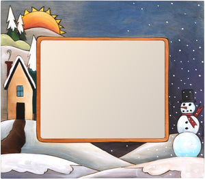 "8""x10"" Frame –  Frame with smiley snowman under the snow fall beside a cozy home motif"