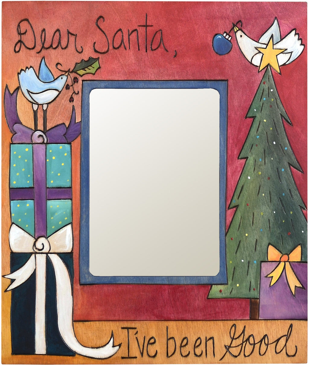 "Sticks handmade 5x7"" picture frame with Santa letter theme"